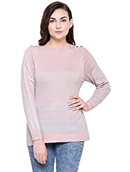 MansiCollections Pink with Grey Stripes Sweater for Women