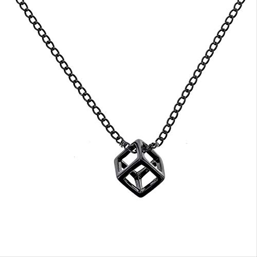 niuziyanfa Co.,ltd Necklace Retro Hollow Cube Pendant for Men Square Vintage Necklace Punk Geometric Collier Chain Pendant Necklace