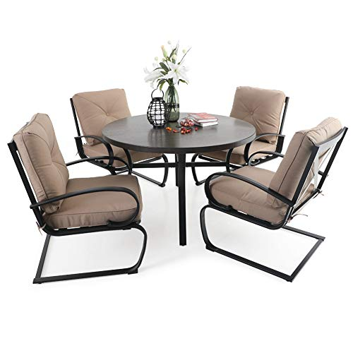 PHI VILLA 5 PCS Patio Dining Set, 4 Piece C-Spring Motion Chairs with Padded Cushion & 44' Dia Metal Round Dining Table with 1.97' Umbrella Hole, Beige