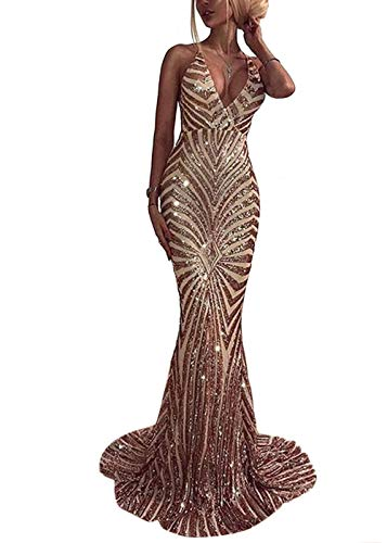 Ohvera Women's Spaghetti Strap Sequined V Neck Party Cocktail Evening Prom Gown Mermaid Maxi Long Dress Gold Large (Apparel)