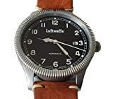 Luftwaffe braune Automatik Armbanduhr 3H190 Glasboden Fliegeruhr Vintage Look