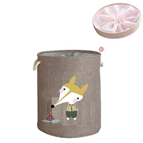 Opbergdozen MYKK Grote wasmand met deksel Speelgoed Opbergmanden Speelgoed Kleding Wasemmer 40 * 45cm Vos