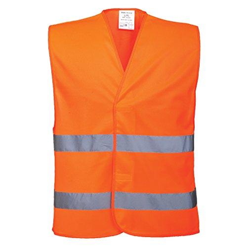 Portwest C474 Sicherheitsweste Hohe Sichtbarkeit Zwei Bänder - Orange, XXXXL / XXXXXL