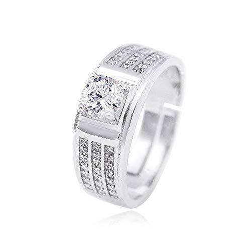 WHX DamenRingeEdelstahl, 925 Silber drei Zeile vertikale Bohrmaschine männlichen Diamant Ringfinger verchromt großen Finger Ring Simulation Diamant Hochzeit Index Fi R-Ring