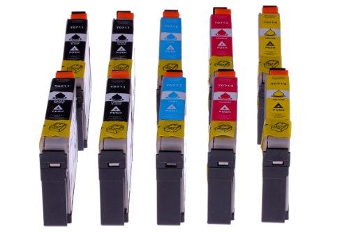 Merotoner - Juego de 10 cartuchos de tinta para Epson Stylus Office BX 300 F D 78 / D 92 / D 120 DX 4000 / DX 4050 / DX 4400 / DX 450 / DX 4450 / DX 000 / DX 5050 / DX 6000 / DX 6050 / DX 7000 F / DX 7400 / DX 7450 / DX 8400 / DX 8450 / DX 9200 / DX 9400 F S 20 / SX 100 / SX 10 5 / SX 2. Compatible con WiFi 00, SX 205, SX 400, SX 400 WiFi, SX 405, SX 405.