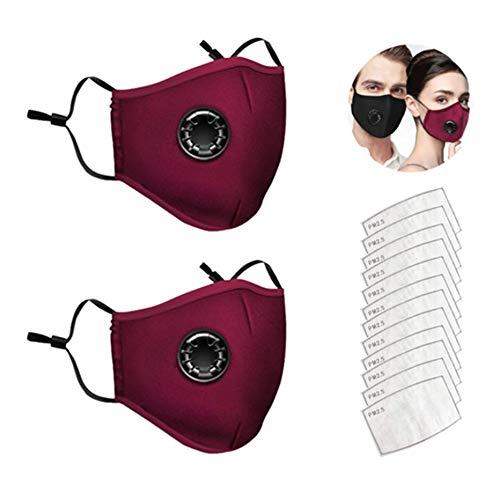 AmyGline 2 Stück Outdoor Baumwolle-Gesichtsschutz-Mundschutz,mit 12 Aktivkohlefilter,Wiederverwendbar,Waschbar,Anti-Staub,Atmungsaktiv,Schwarz,für Motorrad,Laufen (2PC+12 Filter, Rot)