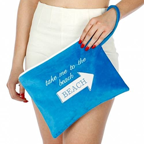 Knitting Factory Water Proof Wet Bikini Bag Selection (Take me to the beach Blue)