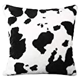 WINOMO Funda de cojín con estampado de vaca, acogedora funda de cojín de forro polar, decorativa, para sofá, cama, sofá, granja, color negro