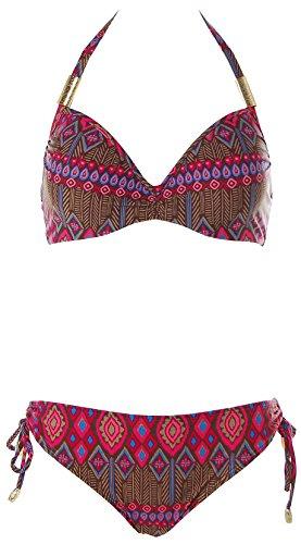 Heine Damen Bügel Bikini Ethno Look (42B, Braun Pink)