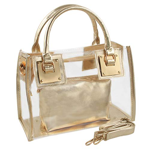 YellowPin Women's 2in1 Transparent Zip clousre crossbody shoulder bag with cluth (Gold), Medium