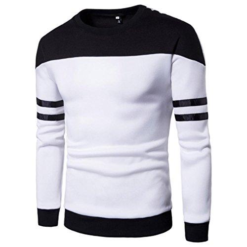 Top Hommes Toamen Pull à manches longues Pour des hommes Pull à manches longues en patchwork Sweatshirt Haut Tee Outwear Blouse (L, blanc)