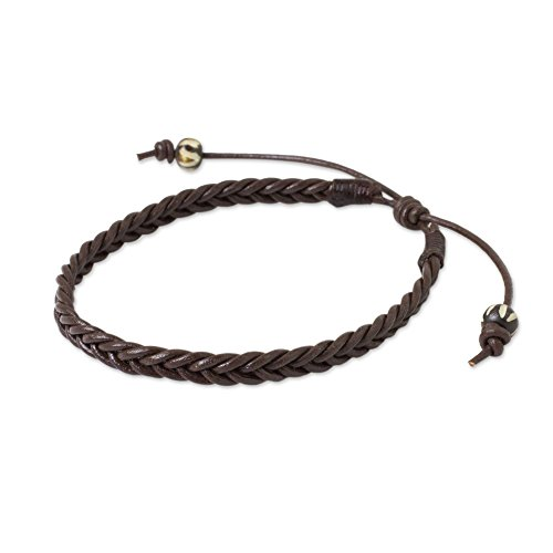 NOVICA Braided Leather Adjustable Men's Bracelet with Bone Beads, 7.5' 'Single Brown Braid'