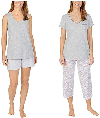 Carole Hochman Ladies' 4-Piece Cotton Pajama Set, Short Sleeve Top, Tank Top Short, and Capri Pant with Pocket, Solid and Floral Sleepwear for Women (XL, Gray)