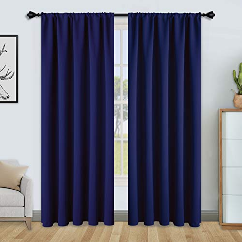 FLOWEROOM Blackout Curtains for Bedroom - Thermal Insulated Rod Pocket Window Curtains, Darkening Curtain for Living Room, Navy, 2 Panels, W66 x L72 inch (168cmx183cm)