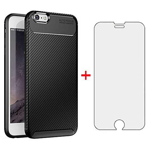 Phone Case for iPhone 6plus 6splus 6/6s Plus with Tempered Glass Screen Protector Cover and Cell Accessories Slim Thin TPU Silicone iPhone6 6+ iPhone6s 6s+ i 6X 6a S Six iPhone6splus Cases Black