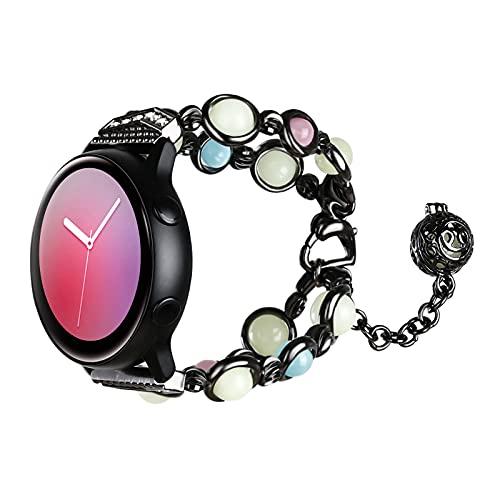TiMOVO Cinturino Compatibile con Samsung Galaxy Watch Active 2/Active/Galaxy Watch 3 41mm/Galaxy Watch 42mm, Cinturino di Scambio per Orologio, Cinturino con Perline alla Moda da Donna Ragazza, Nero