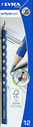 Lyra L1760100 Groove Slim Crayons Graphite de haute qualité Grip ergonomique Idéal pour les enfants et les adultes, Grade HB, (plomb : 2,8 mm (12 crayons inclus)