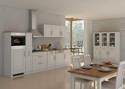 idealShopping GmbH Küchenblock Rom 330 cm mit Apothekerschrank im Landhaus Stil weiß matt ohne Elektrogeräte