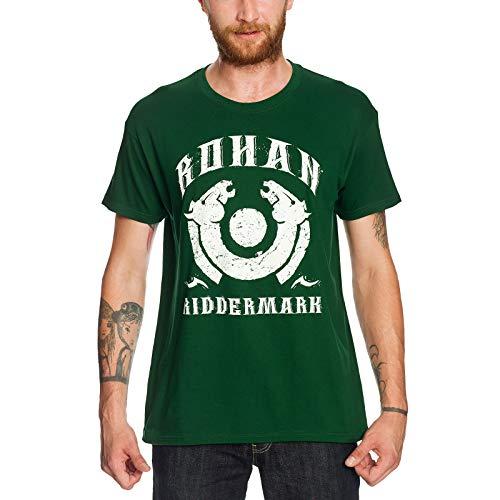 Camiseta con diseño del Señor de los anillos Elbenwald Rohan Riddermark y símbolo de caballo, color verde verde XL