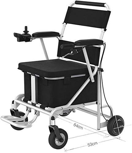 Silla de Ruedas eléctrica Plegable, Las baterías de litio plegable silla de ruedas eléctrica / Extra Potente / SOLO 27KG / 38L Con Compras Box, 130 kg de rodamiento, separable de la batería, Resistenc