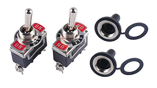 Interruptor Conmutador de Palanca de Servicio Pesado 15A 250V SPDT 3 Pin ON-OFF-ON Interruptor Basculante con Tapa de Metal Impermeable (2 Juegos)