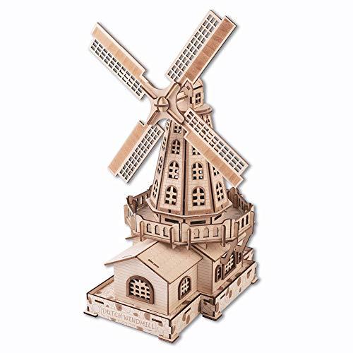 GuDoQi Puzzle 3D Madera, Kit de Modelo de Molino de Viento Holandés, Kit de Artesanía de Madera, Maquetas para Construir para Adultos, Idea de Regalos de Juguete de Montaje de Bricolaje para Navidad