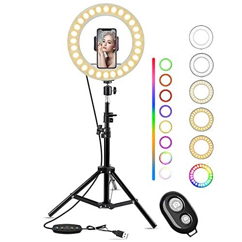 Luce ad Anello LED con Treppiedi, Keenstone 10'' Ring Light Professionale,8 Modalità RGB,5 Effetti di Luce,10 Luminosità Dimmerabile,Luce per Selfie per Tik Tok,YouTube,Trucco,Fotografia