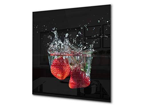 Concept Crystal Aufkantung aus Hartglas – Glasrückwand – Rückwand für Küche und Bad BS09 Serie Wasserspritzer: Strawberry In Water