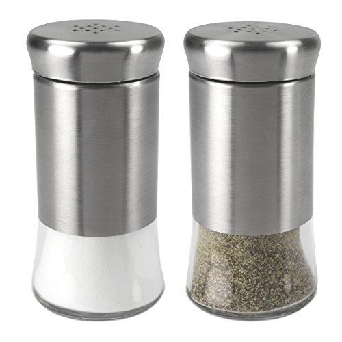 Home Basics 2 Piece Essence Salt & Pepper Shaker, Multicolored, Silver