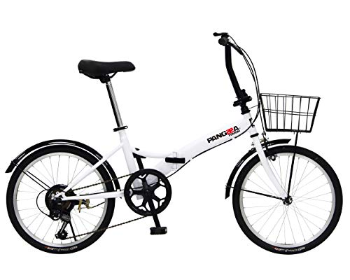 PANGAEA(パンゲア) パンクしない折りたたみ自転車 タフ ホワイト ノーパンクタイヤを採用 20インチ 6段変速 バスケット/泥除け装備 94201-1299