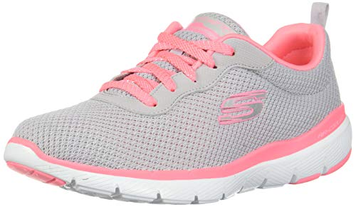 Skechers Women's Flex Appeal 3.0 Trainers, Grey (Light Grey Hot Pink Lghp), 7 UK 40 EU