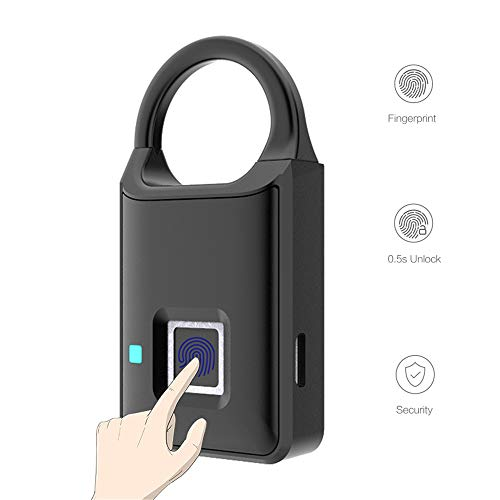 Thumbprint Door Lock Biometric Smart Fingerprint Padlock USB Rechargeable Quick Unlock for Locker Cabinet Luggage Case