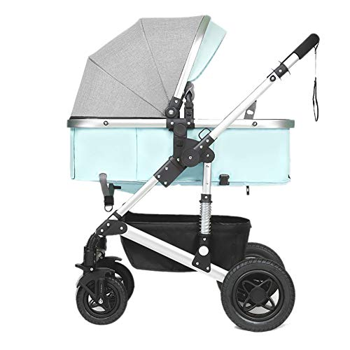 Yhz@ Cochecito de bebé, Plegable Ligero del Amortiguador de los niños Empuje los carros del bebé Infantil Carro de aleación de Aluminio Marco Sillas de Paseo (Color : Azul)