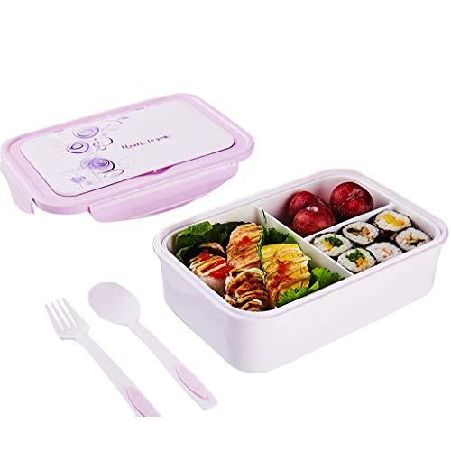 fiambrera niños,caja almuerzo niños con 3 Compartimientos Cuchara Tenedor Adulto Bento Cajas, Con Cuchara Horquilla Microondas Lavavajillas