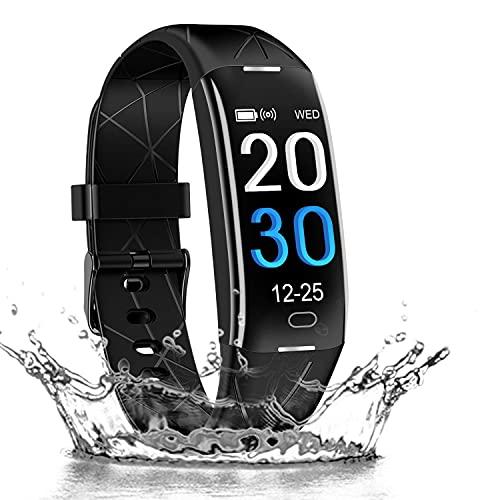 ODLICNO Pulsera Actividad Impermeable IP67 Pulsera Inteligente con Pulsómetro , Monitor de Calorías, Sueño,Podómetro,Relojes Deportes GPS para Mujer Hombre Fitness Tracker para Android y iOS Teléfono móvil (Negro)