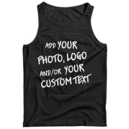 lepni.me Camisetas de Tirantes para Hombre Regalo Personalizado, Agregar Logotipo de la Compañía, Diseño Propio o Foto (Medium Negro Multicolor)