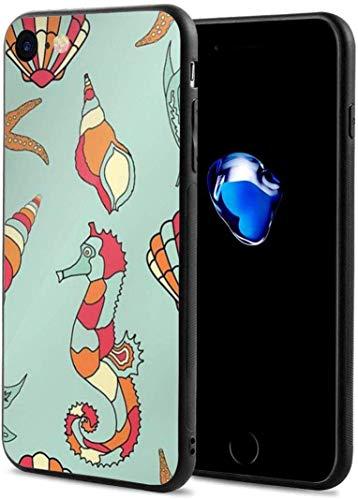 Para iphone7/8 caso Sea Horse Starfish Shell delgado flexible suave TPU resistente a los arañazos rojo gota con lindo patrón cubierta