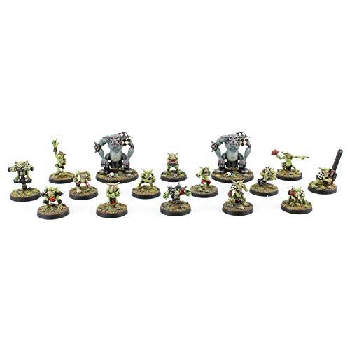 War World Gaming Gutrot Greenskins Ganzes Goblin Team & 2 Starspieler - 28mm Fantasie Fußball Miniatur Figur Mini Kobold für Blood Bowl Sammlerstück Bemalen Gelände Modellbau