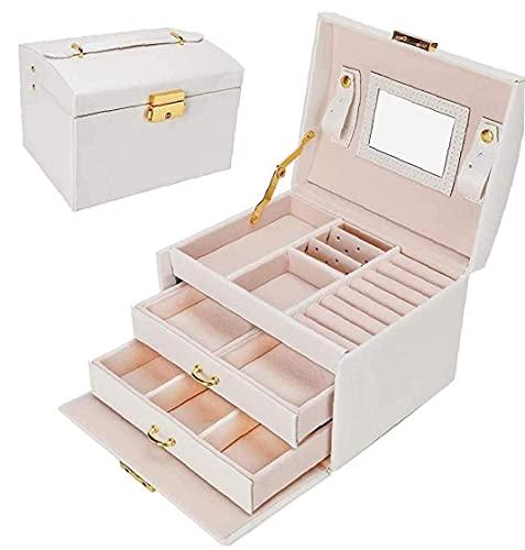Canjerusof, organizador de joyas con 2 cajones de tres capas, caja de almacenamiento de joyas de piel sintética con espejo y cerradura para regalo para niñas y mujeres