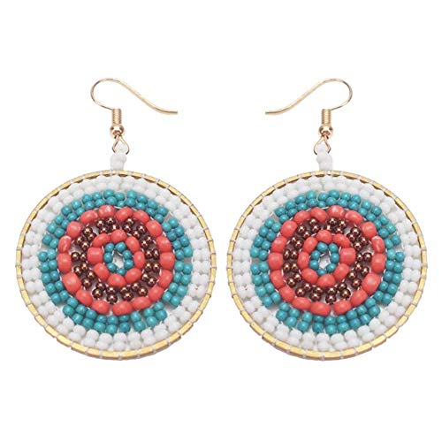 SONGAI Boho Multicolor Dangle Handmade Woven Round Rice Beaded Statement Hook Earrings Women Jewelry,Colour Name:White Bracelets Earrings Rings Necklaces (Color : Black)