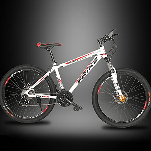 PBTRM Bicicleta MTB 26 Pulgadas Bicicleta Montaña 27 Velocidades para Hombres Y Mujeres, Marco Aleación Aluminio, Freno De Disco, Horquilla Delantera con Amortiguador Bloqueable,White Red