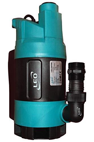 Schmutzwasserpumpe LEO LKS-250PWA, Schmutzwasser Tauchpumpe mit Thermoschutz (Industriequalität), eingebautem Schwimmschalter, doppeltem Anschluss u. Freistromrad