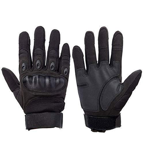 HGWZLQ Outdoor-Sport Taktische Soldaten Handschuhe Rüstung Schutz Vollfingerhandschuhe Zum Reiten Wandern Klettern Training Camping (Color : Full Black, Size : L)