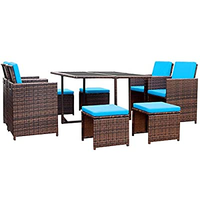 Devoko 9 Pieces Patio Dining Sets Outdoor Space Saving Rattan Chairs with Glass Table Patio Furniture Sets Cushioned Seating and Back Sectional Conversation Set (Blue)