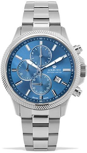 LOUIS XVI Herren-Armbanduhr Résidence Stahlband Silber Blau Chronograph Analog Quarz Edelstahl 993