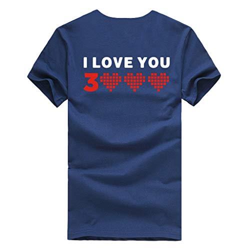 """Allegorly Tshirt Oberteile Damen Elegant Sommer Kurzarm/Ärmellos Lässige Blumendruck T-Shirt """"I Love You"""" Bluse lose Tee Tanktops Für Männer und Frauen"""