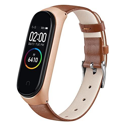 ZHIENG Correa Compatible con Xiaomi Mi Band 4 Xiaomi Mi Band 3,Cuero Pulseras de Repuesto Piel Banda para Xiaomi Mi Smart Band 4 Hombres y Mujer(No Host)(Marrón)