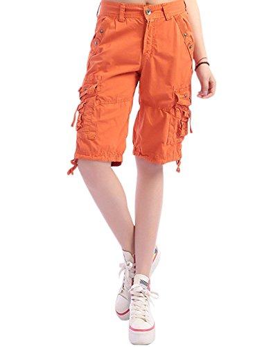 Minetom Bermuda Cargo Shorts Damen Knielang Sommer Kurze Hose Frauen Lose Stretch Boyfriend Knopfleiste Tasche Stoffhose Leinenhose Freizeithose Große Größen Orange X-Small
