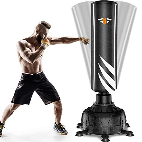 Boxsack Stehend Erwachsene Freistehender Standboxsack 180cm, Schwerer Boxsack-Ständer mit Versenkbarer Saugnapf 13pcs , MMA Boxpartner Hochleistungs-Boxsack für Anfänger, Erwachsene, Jugendliche