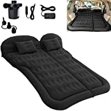SAYGOGO SUV Air Mattress Camping Bed Cushion Pillow - Inflatable Thickened Car Air Bed with Electric Air Pump Flocking Surface Portable Sleeping Pad for Travel Camping Upgraded Version (Black)